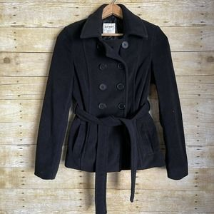 Old Navy Black Fleece Pea Coat Winter Jacket
